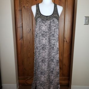 F21 Batik Print & Beaded Racerback Maxi Dress, S